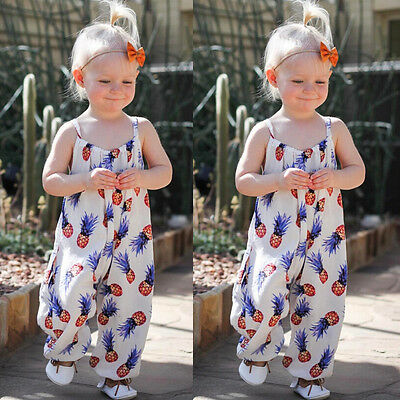 US SHIP Newborn Baby Girl Clothes Pineapple Romper Jumpsuit Overall Sunsuit 0-3T