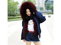 DAYMISFURRY--Waterproof Bomber Navy Base With Fox Fur Lining And Raccoon Fur Hood