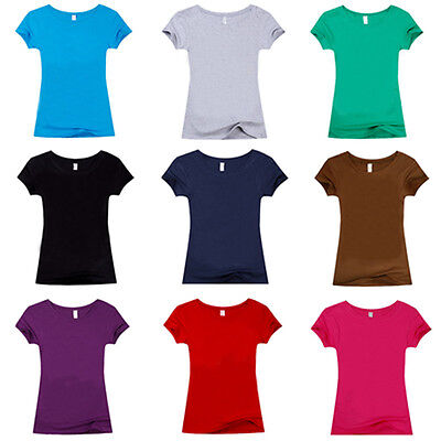 Fashion Women Cotton Short Sleeve Casual Solid Summer T-Shirt Tee Blouse Tops