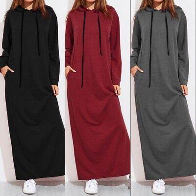 UK Womens Muslim Hoodie Long Sleeve Abaya Jilbab Maxi Dress Sweats Top Plus Size