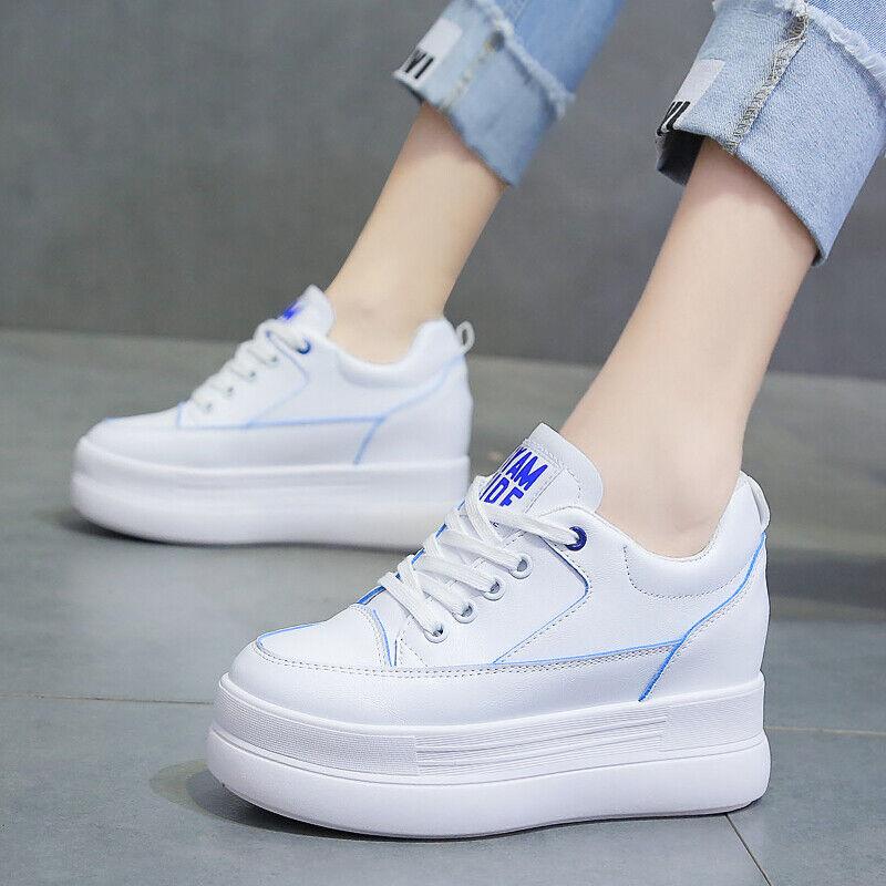Platform Womens Shoes Wedges 8 cm Heels Casual Walking Sneakers Mesh Footwear