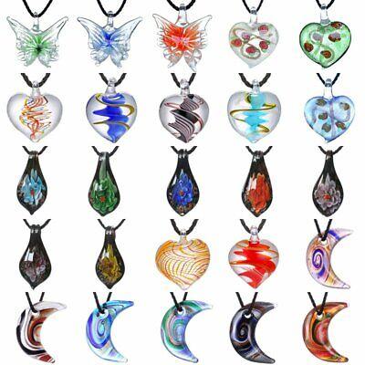 Lampwork Murano Glass Heart Butterfly Moon Drop Pendant Necklace Women Jewelry
