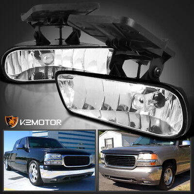 1999-2002 GMC Sierra Yukon XL Front Clear Bumper Driving Fog Lights+881 Bulbs