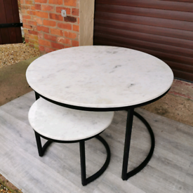 Round White Large Marble Coffee Table & Small Side Table