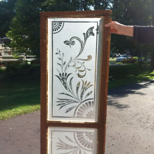 2 Victorian acid etched glass panels