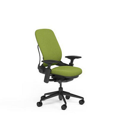 Steelcase Adjustable Leap Desk Chair Buzz2 Meadow Green Fabric Seat Black Frame
