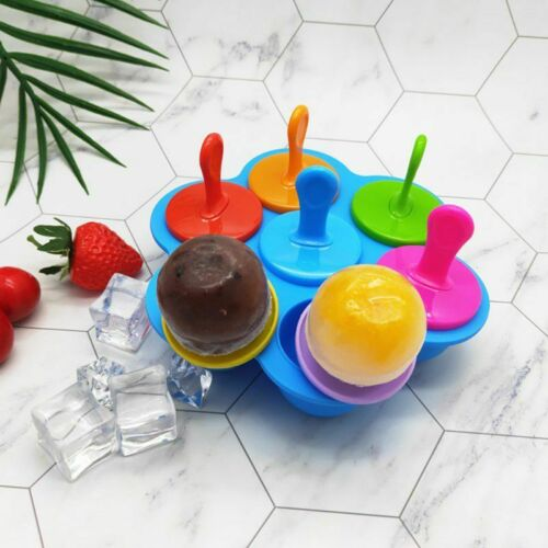 7 Cell Silicone Mini Ice Pops Mold Ice Cream Ball Lolly Make