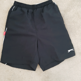 Boys Age 11-12yrs Black Lined Slazenger Sports Shorts