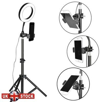 Camera Phone Photo Video Lightning Kit Dimmable LED Ring Light w/ Stand + Holder