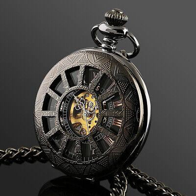 ESS Mens Pocket Watch Mechanical Black Silver Chain Skeleton Hand-winding -