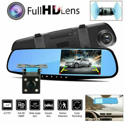 """4.3"""" 1080P Spiegel Dash Cam Dual Lens Auto DVR Rückfahrkamera Recorder G-Sensor"""