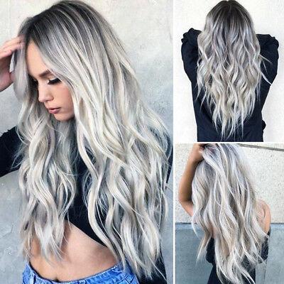 Women Gradient Grey Long Curly Wig Synthetic Wavy Hair Heat Resistant Wig