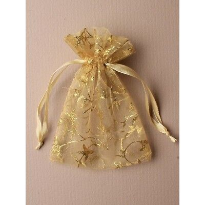 NEW 12 Gold glitter print organza drawstring favour bags wedding party -