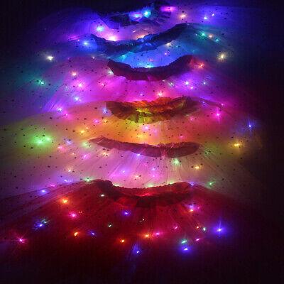 Leuchtend Licht LED Kind Mädchen Tüll Rock Party Kostüm Ballett Tanz Tragen (Tanzen Tragen Tanz Kostüm)