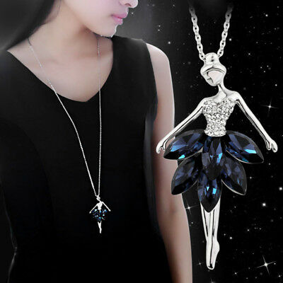 Fashion Women Ballet Dancer Crystal Ballerina Pendant Dangle Necklace Chain