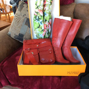 New Miz Mooz red leather boots
