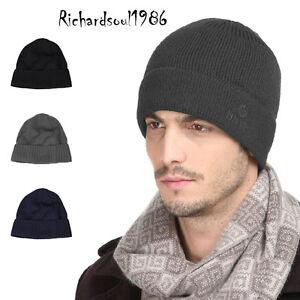 Men baggy blue flod up wool knit beanie hat women winter ski skull cap