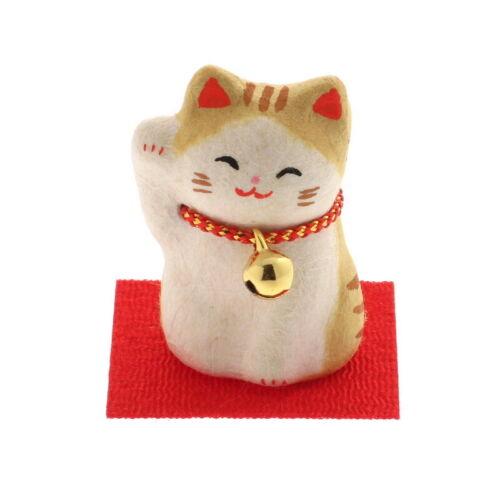 Japanese Chigiri Washi Maneki Neko Lucky Tabby Cat Bell Ornament Made in Japan