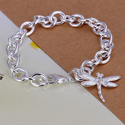 925Sterling Silver Dragonfly Pendant Lobster Clasp Women Bracelet Chain -