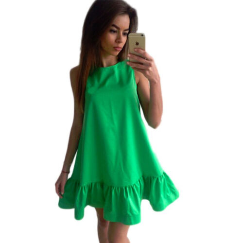 Women Summer Sleeveless A Line Bodycon Mini Dress Casual Loose Cocktail Sundress Clothing, Shoes & Accessories
