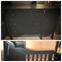 Crib nd matching dresser