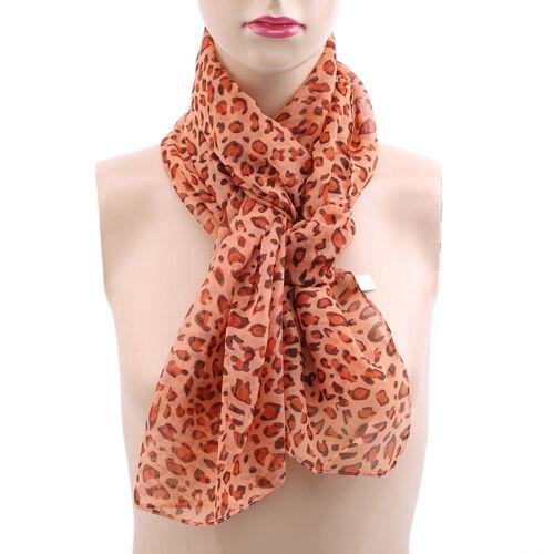 Women Ladies Leopard Print Soft Chiffon Shawl Scarf Long Wrap Stole Scarves OW