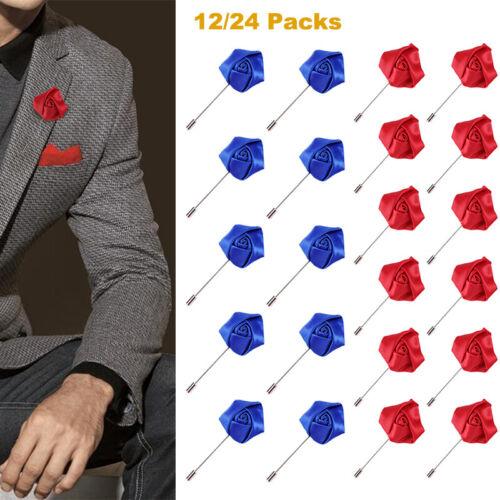 Men Suit Accessories Lapel Flower Handmade Boutonniere Stick Brooch Pin Wedding