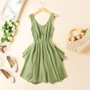 Women Sexy Backless Bow Tie Chiffon Cocktail Party Dress Summer Beach Mini Dress