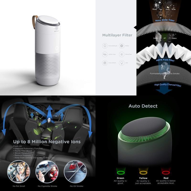 Multi-Purpose Air Purifier True Hepa Filter Ionizer Led Indicator Light Car Home