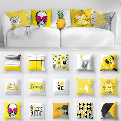 1PC Square Yellow Cushion Covers Throw Pillow Covers Flower Home Decor 18''