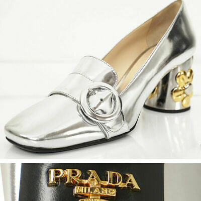 sz 38.5 39 NEW $950 PRADA Silver Leather GOLD FLOWER BLOCK Heels Spring (Silver Prada)