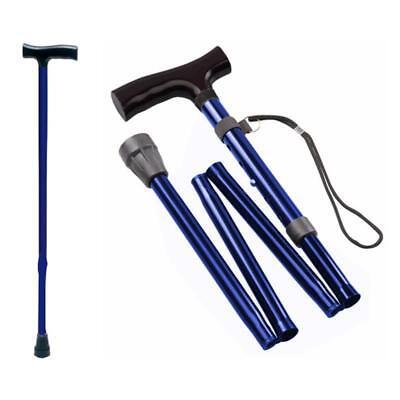 Spazierstock Gehhilfe Gehstock Aluminium Blau faltbar klappbar