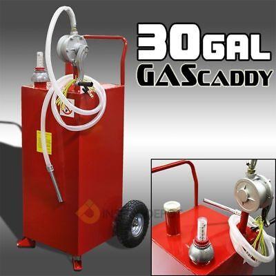 30g Oil Fuel Diesel Dispenser Tank With Pump Gas Storage Cart Wheel