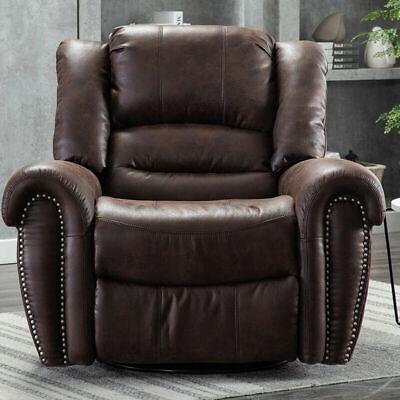 Modern Manual Recliner Chair Swivel Glider Rocker Club Suede Leather Sofa Brown