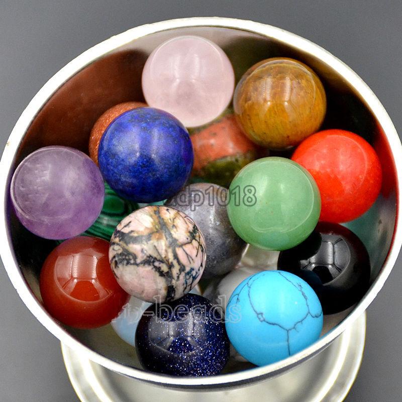 16mm Natural Gemstone Round Ball Crystal Healing Sphere Rock Stones Decor Massag