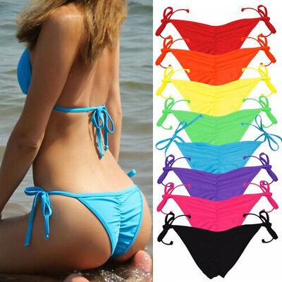 V Cheeky Brazilian Thong Bikini Bottom Womens String Micro Tiny Scrunch Swimwear - Tiny Bikinies