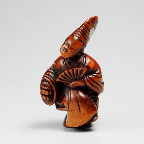 19th century wooden * Sambaso dancer * Netsuke, signed