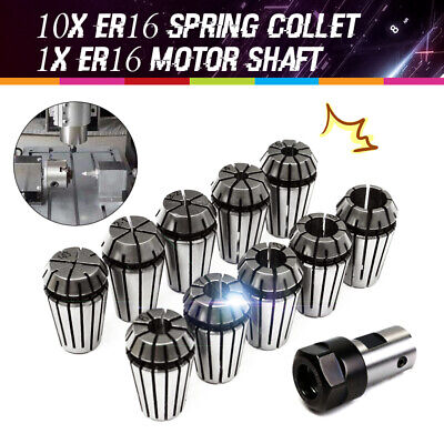 10x Er16 1-10mm Spring Collet Set For Cnc Milling Machine Engraving Lathe Tool
