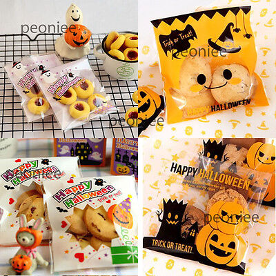 self adhesive halloween treat cello cellophane cookie candy bags party gift W