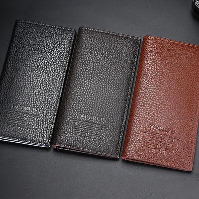 Leder Passport Wallet (Männer lang Mappe Leder Bifold Passport Wallet Organzier Checkbook Geldbörse de)
