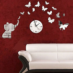 3D DIY Elephant Butterflies Mirror Wall Decal Wall Clock Sticker Art Decor Noo