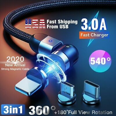 2020 New 3 in 1 3A Magnetic Fast Charging Cable Adjustable 540° Type-C Micro USB