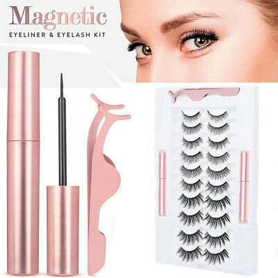 10 Pairs Eyelashes Long Lashes & Waterproof Magnetic Eyeliner +Tweezer Kit Set