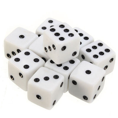 16mm 10Pcs Opaque Six Sided Spot Dice Games D6 RPG Playing Toys White