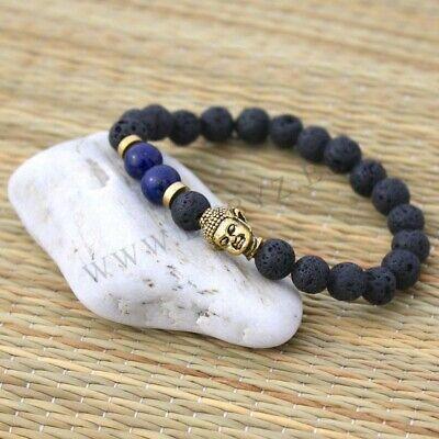 79f1f0e87edd Pulsera con piedras de lava naturales y cabeza de Buda dorada