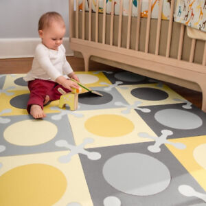 Skip Hop Playspot Geo Foam Floor Tiles Grey Gold