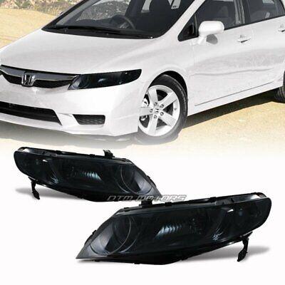 JDM Smoke Housing Smoke Lens Headlight Lamps For 2006-2009 Honda Civic 4-Door
