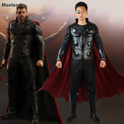 Avengers Infinity War Thor Odinson Costume Cosplay Halloween Leather Hero Suits - Thor Mens Costume