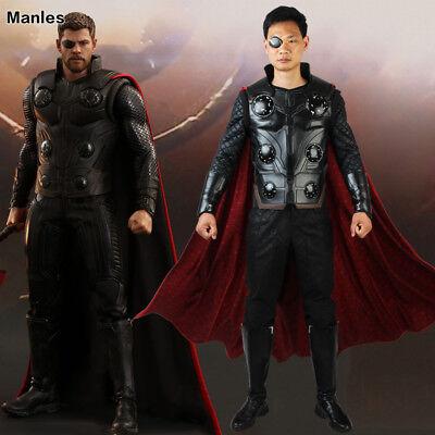 Avengers Infinity War Thor Odinson Costume Cosplay Halloween Leather Hero Suits (Thor Costume)
