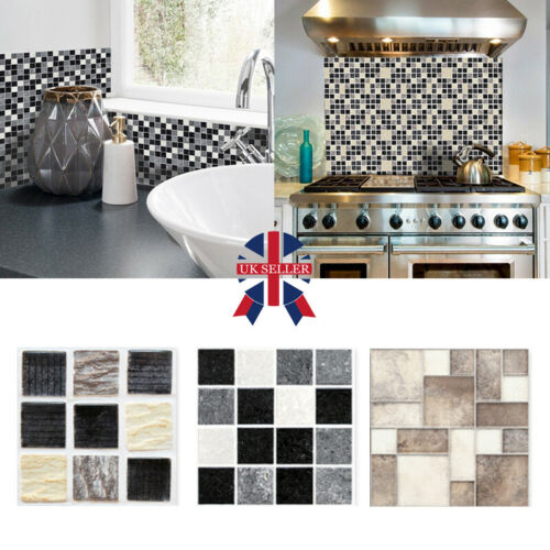 Home Decoration - Kitchen Bathroom Tile Mosaic Stickers Self-adhesive Waterproof Home Wall Decor